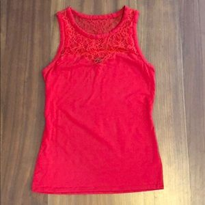 Express Sleeveless Lace Red Top EUC